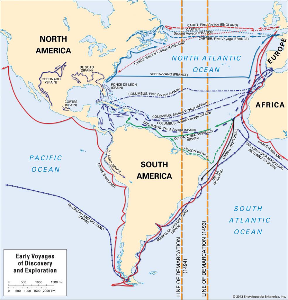 European Exploration - The Age Of Discovery | Britannica in Printable Map Of Christopher Columbus Voyages