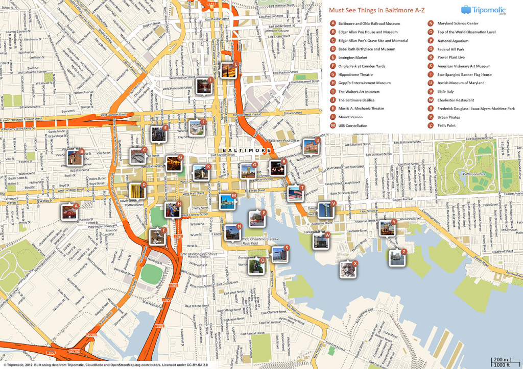 File:baltimore Printable Tourist Attractions Map - Wikimedia Commons intended for Warsaw Tourist Map Printable