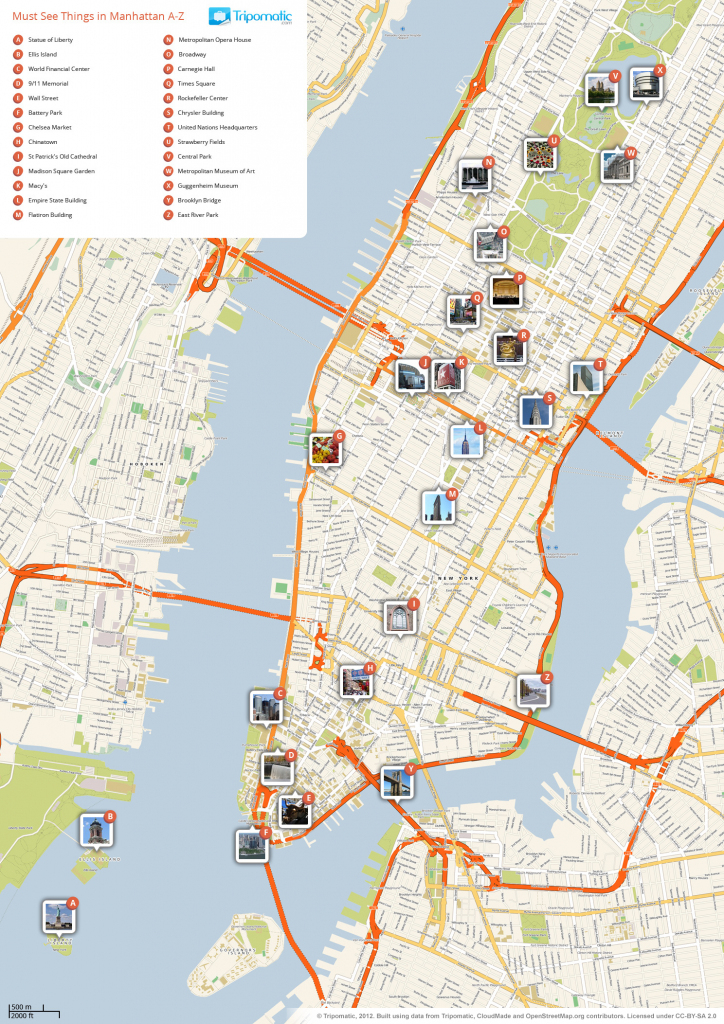File:new York Manhattan Printable Tourist Attractions Map with Free Printable Map Of New York City