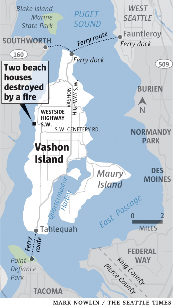 Fire Destroys Two Homes On West Side Of Vashon Island   The Seattle pertaining to Vashon Island Map Printable