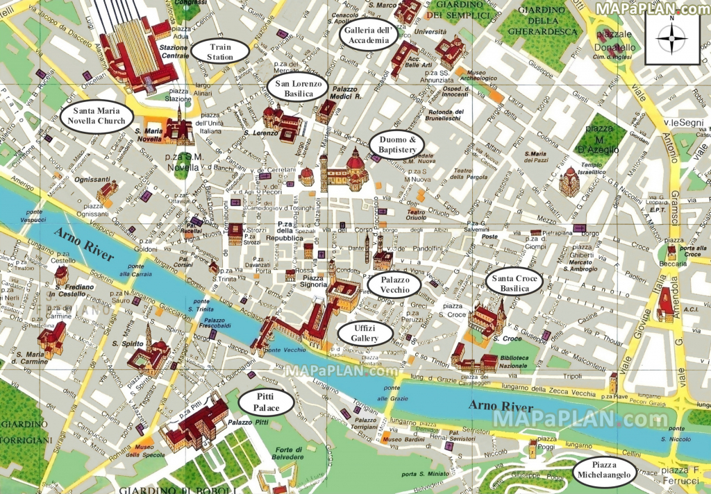 Florence Maps - Top Tourist Attractions - Free, Printable City for Tourist Map Of Florence Italy Printable