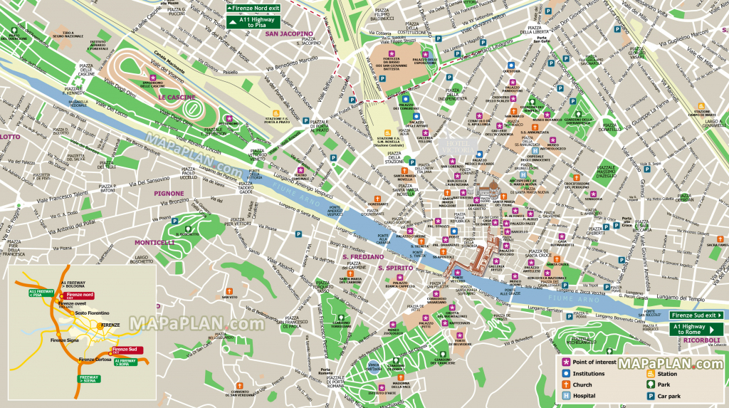 Florence Maps - Top Tourist Attractions - Free, Printable City in Printable Map Of Florence Italy