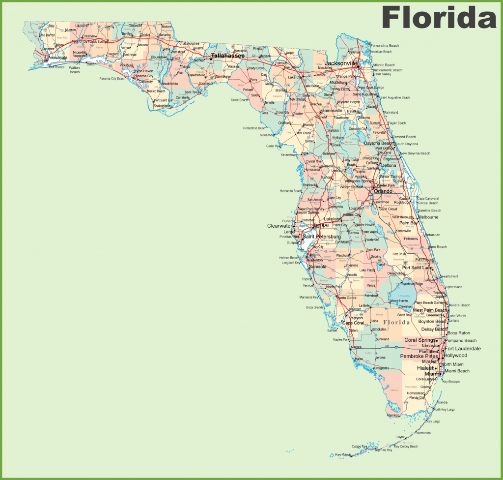Florida Road Map With Cities And Towns for Florida County Map Printable
