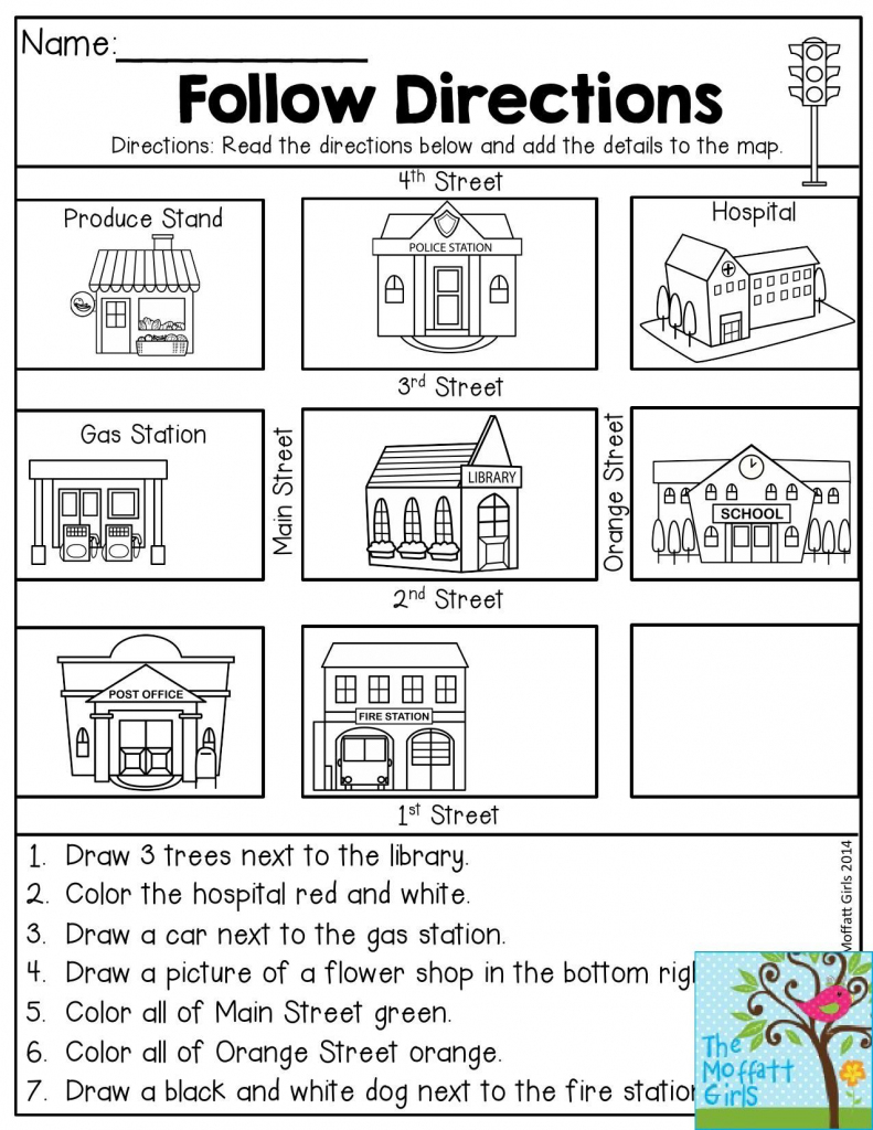 Follow Directions- Read The Directions And Add The Details To The within Map Symbols For Kids Printables
