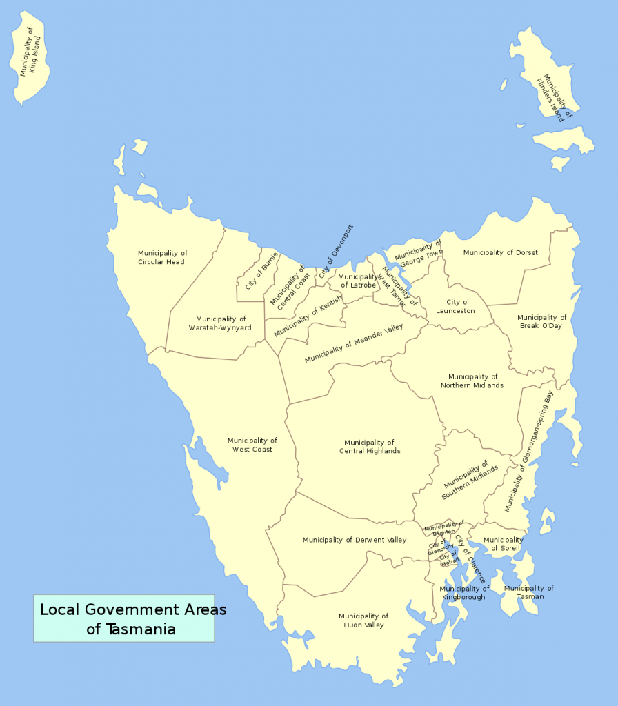 Former Local Government Areas Of Tasmania - Wikipedia with Printable Map Of Tasmania