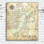 Fort Myers Fl Canvas Print Florida Vintage Map Fort Myers Vintage For Printable Map Of Ft Myers Fl