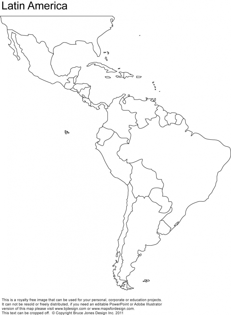 Free Blank Map Of North And South America   Latin America Printable in Blank Map Of Central And South America Printable