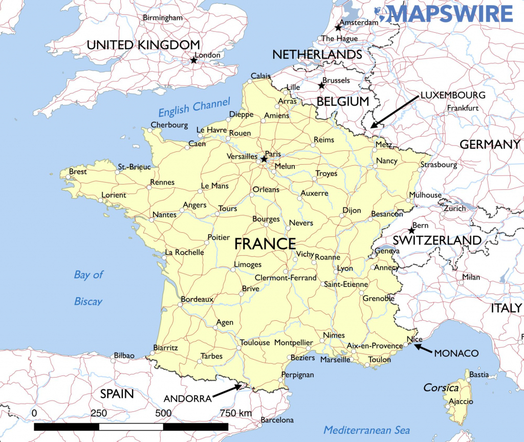 Free Maps Of France – Mapswire with Printable Map Of France