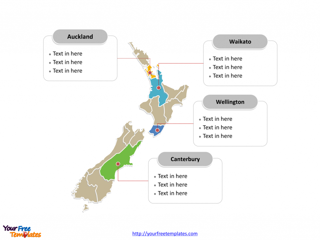 Free New Zealand Editable Map - Free Powerpoint Templates regarding Outline Map Of New Zealand Printable