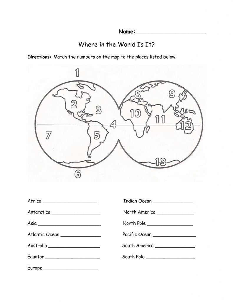 Free Printable Map Of Continents And Oceans | Free Printables pertaining to Map Of World Continents And Oceans Printable