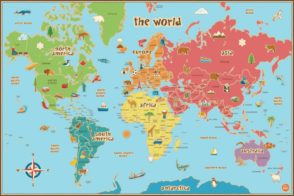 Free Printable World Map For Kids Maps And   Gary's Scattered Mind regarding Printable World Map With Countries For Kids