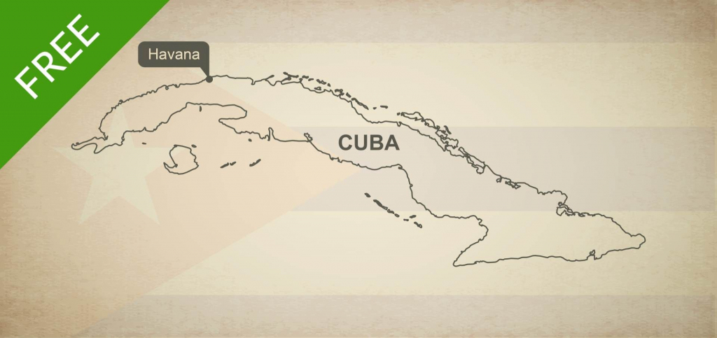 Free Vector Map Of Cuba Outline | Maps Of North America - Continent with regard to Printable Map Of Cuba