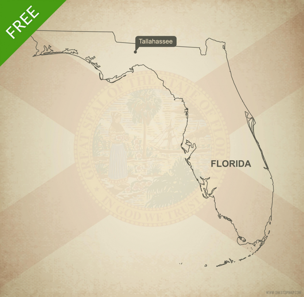 Free Vector Map Of Florida Outline | One Stop Map for Florida Map Outline Printable