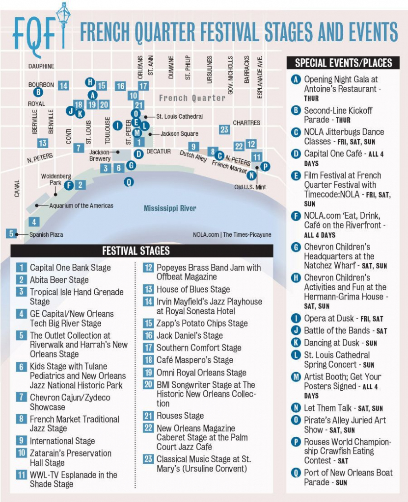 French Quarter Festival Map - Google Search | New Orleans | French inside Printable French Quarter Map