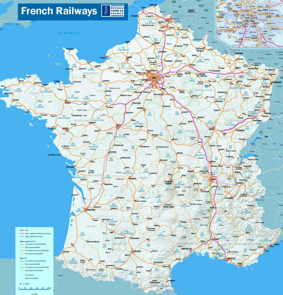 French Railway Network Map - About-France Travel intended for Printable Map Of France With Cities And Towns