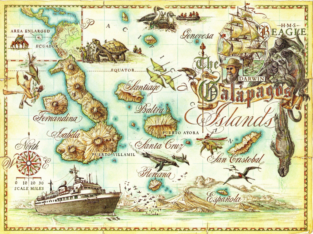 Galapagos Islands Map - Galapagos Islands • Mappery | Baby/bridal for Printable Map Of Galapagos Islands