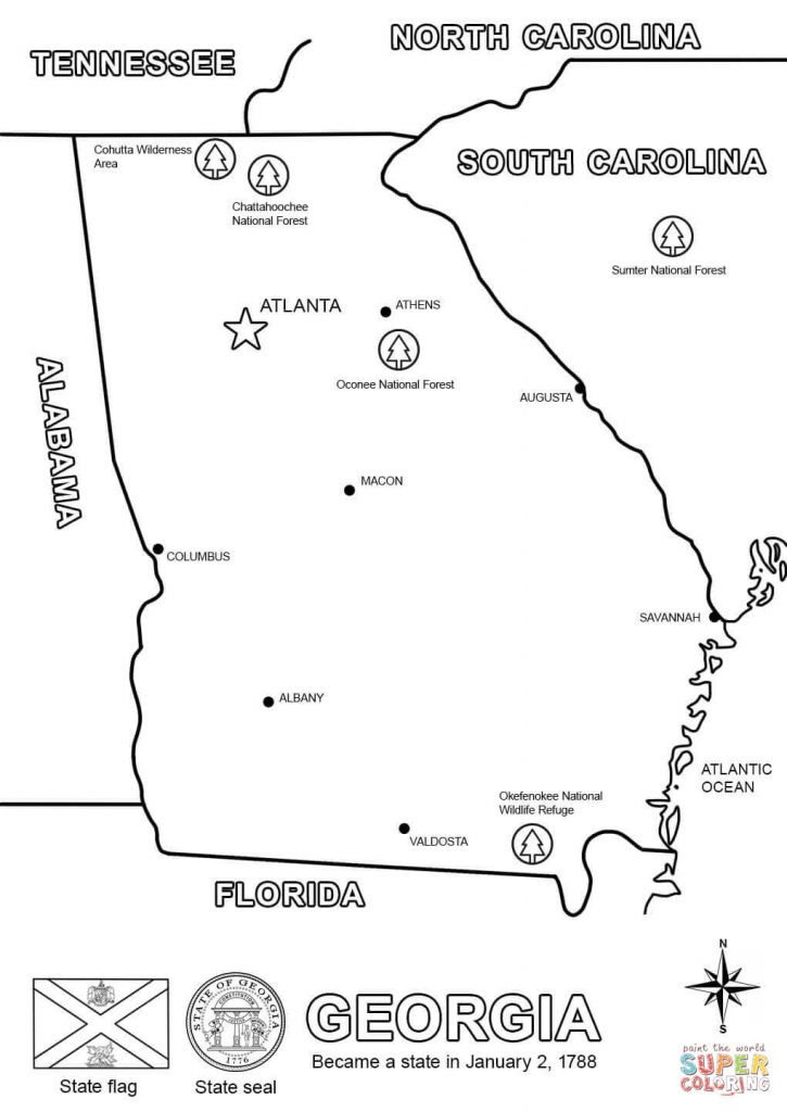 Georgia Map Coloring Page | Free Printable Coloring Pages with Georgia State Map Printable