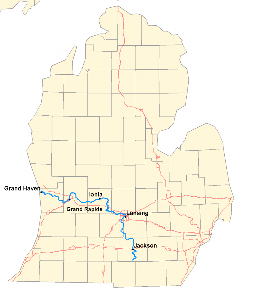Grand River (Michigan) - Wikipedia inside Michigan River Map Printable