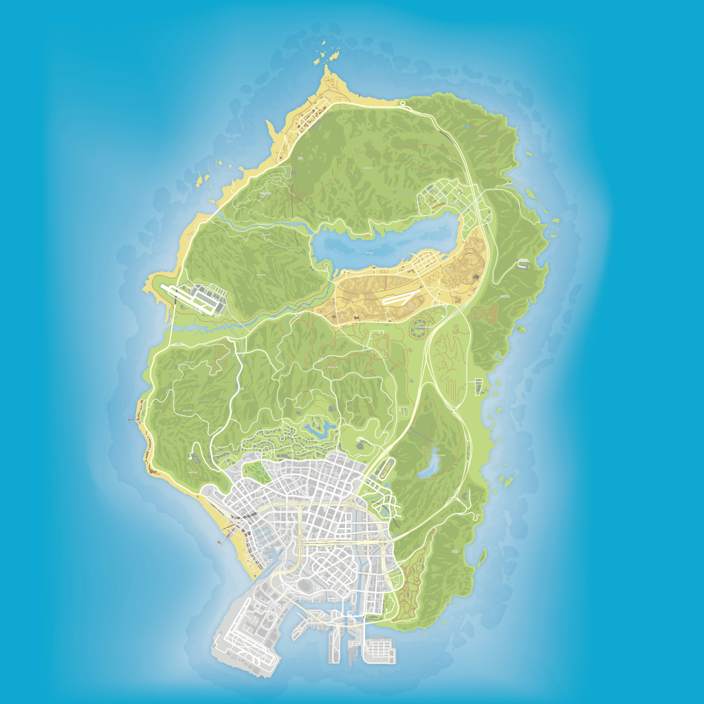 Gta V Maps [Quad-Ultra High Definition 8K Quality] - Bragitoff throughout Gta 5 Printable Map