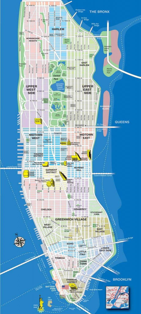 High-Resolution Map Of Manhattan For Print Or Download   Usa Travel in Printable Map Manhattan Pdf