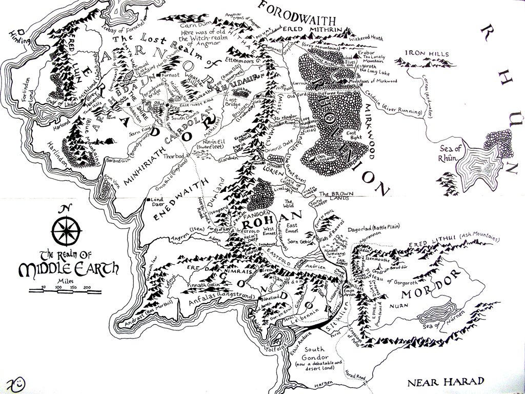 High Resolution Map Of Middle-Earth? : Lotr pertaining to Printable Map Of Middle Earth