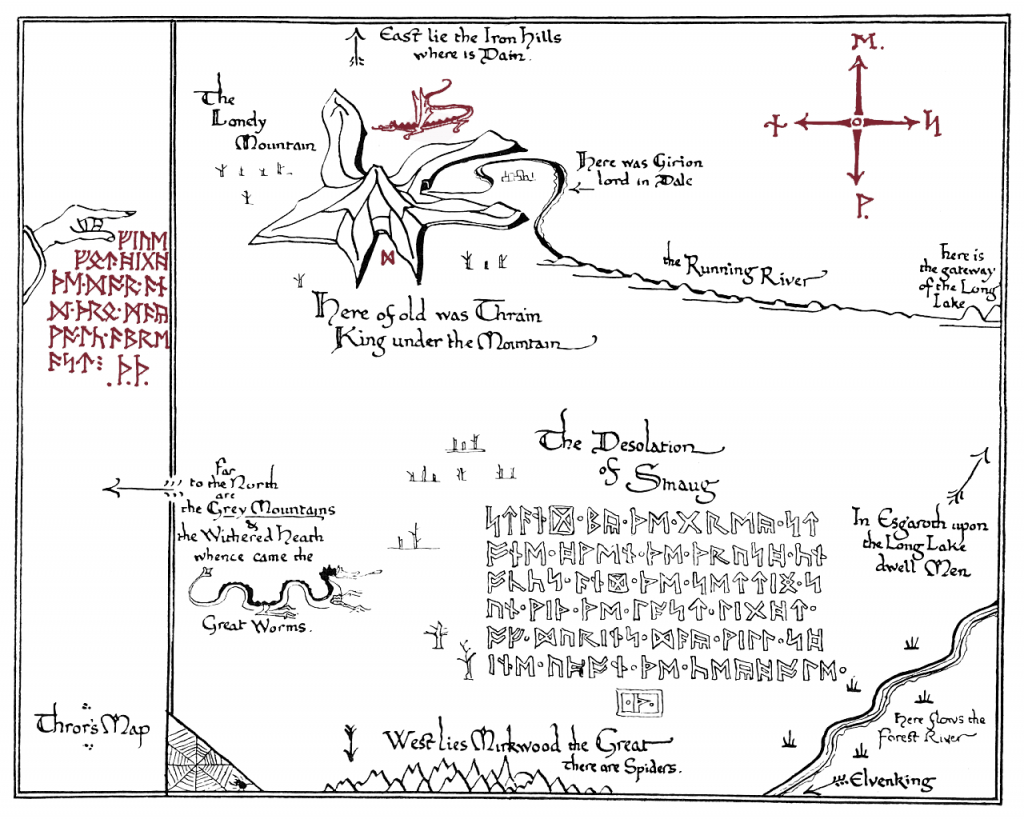 I Made A Printable Version Of Thror's Map.(X-Post From R/tolkienfans intended for Printable Hobbit Map