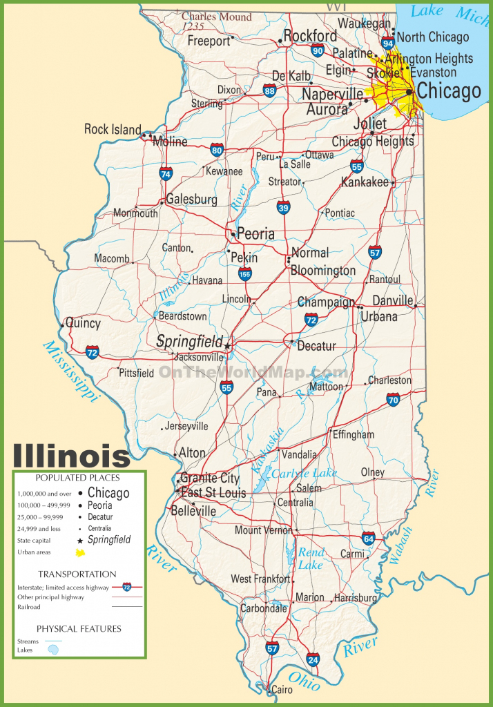 Illinois Highway Map for Printable Map Of Illinois