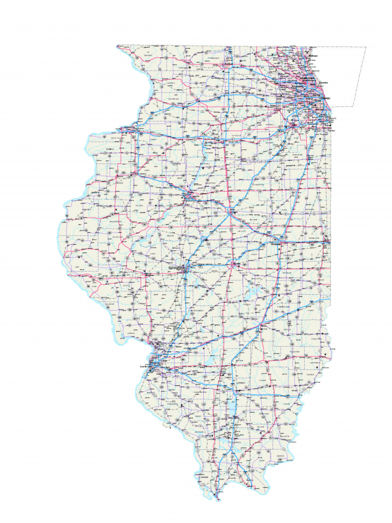 Illinois Maps - Illinois Map - Illinois Road Map - Illinois State for Illinois State Map Printable