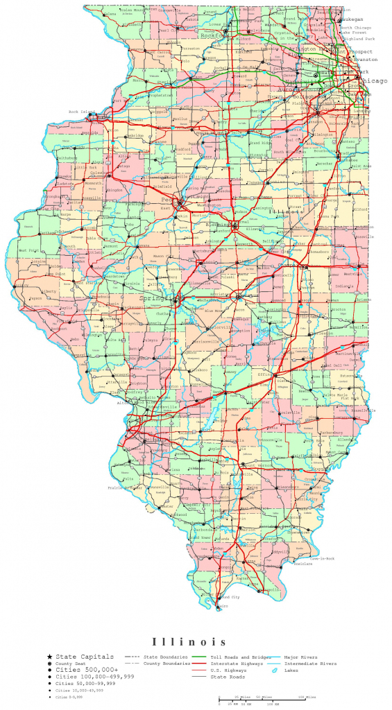 Illinois Printable Map intended for Illinois State Map Printable