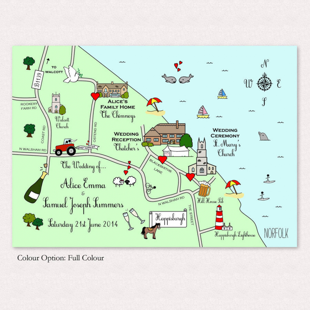 Illustrated Map Wedding Or Party Invitationcute Maps regarding Maps For Invitations Free Printable