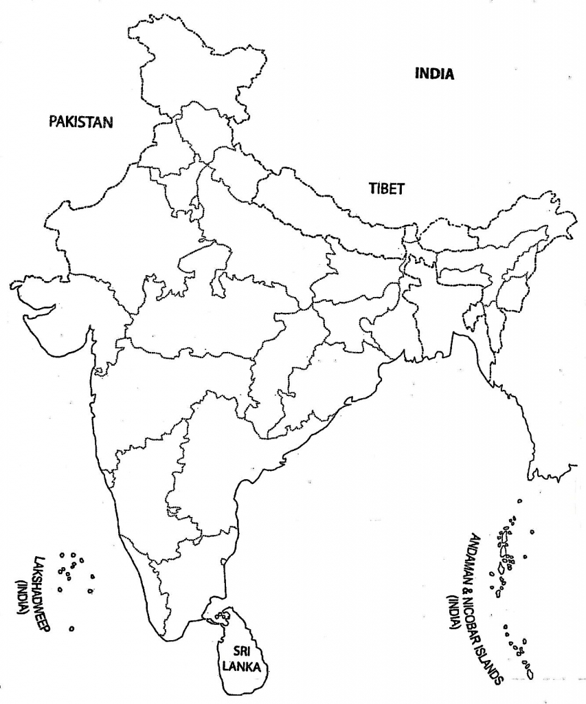 India Map Outline A4 Size | Map Of India With States | India Map in Printable Outline Map Of India