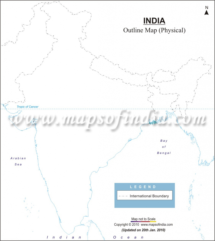 India Physical Map In A4 Size inside Political Outline Map Of India Printable