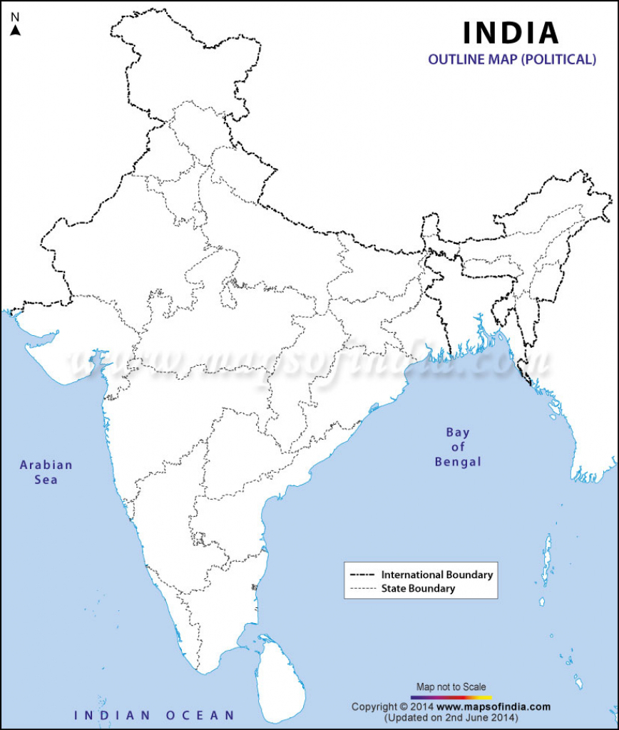 India Political Map In A4 Size in India Political Map Outline Printable