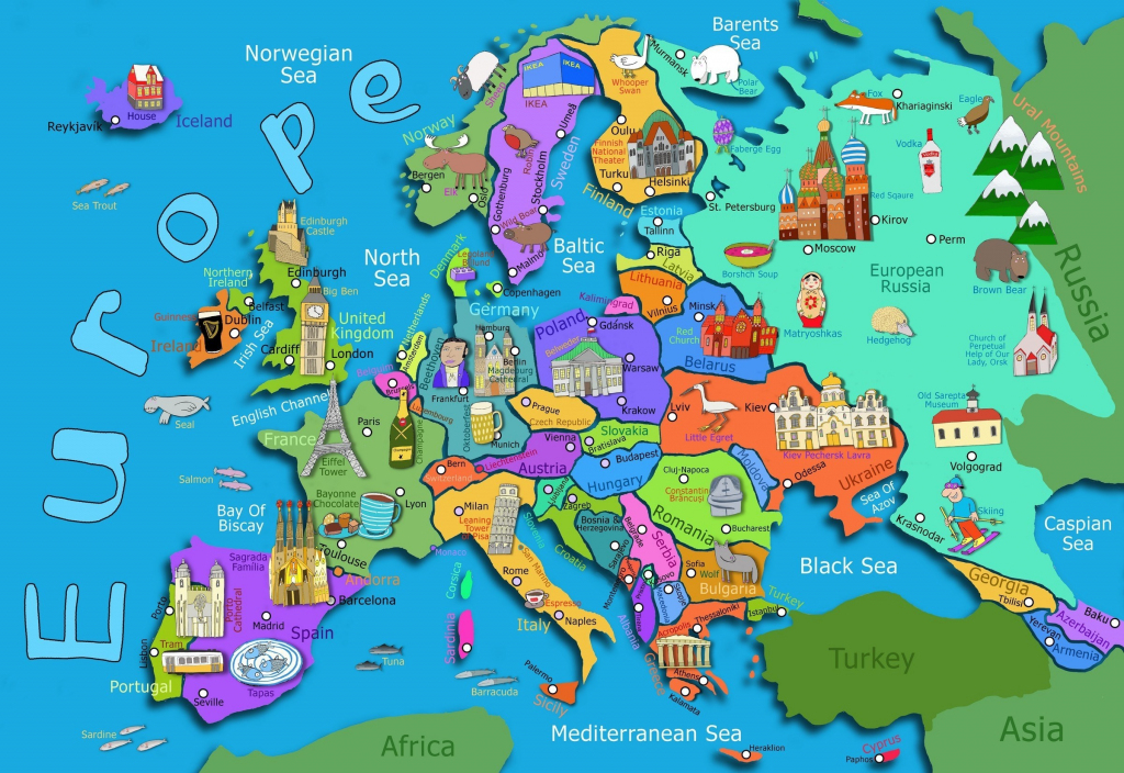 Kids Map Of Europe Maps Com In For Printable Asia 7 - World Wide Maps regarding Printable Map Of Asia For Kids