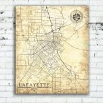 Lafayette La Canvas Print Louisiana La City Vintage Map Gift Home Throughout Printable Map Of Lafayette La