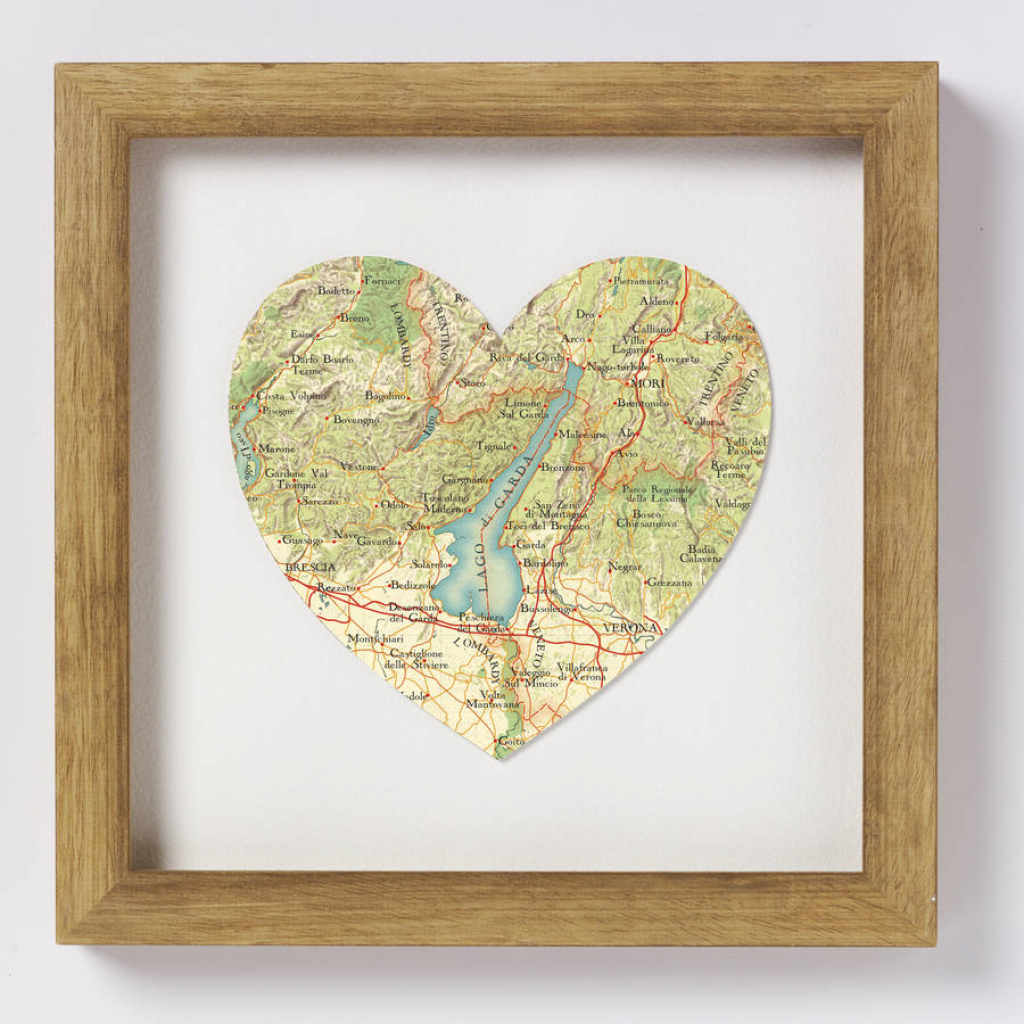 Lake Garda Italy Map Heart Printbombus | Notonthehighstreet throughout Printable Map Of Lake Garda