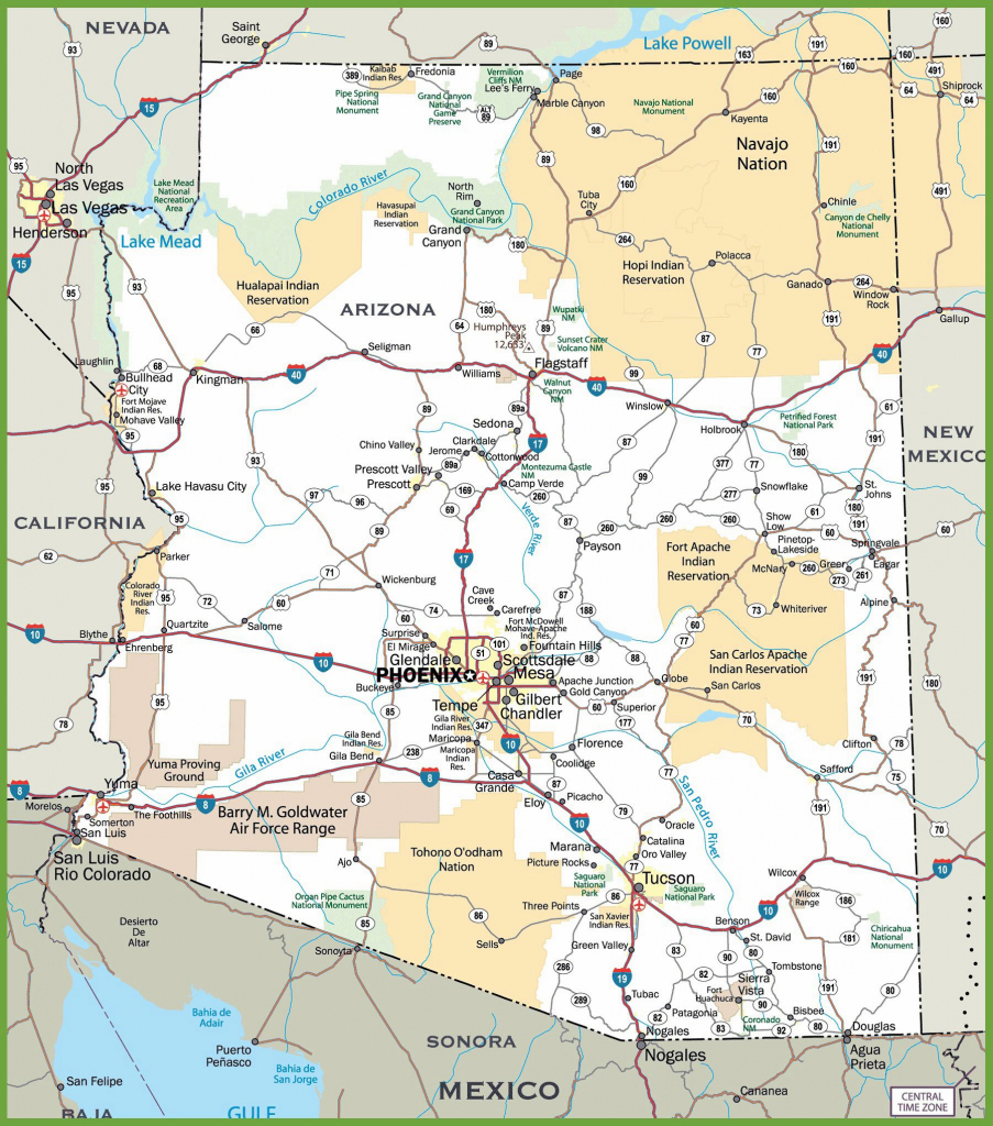 Large Arizona Maps For Free Download And Print | High-Resolution And for Printable Map Of Arizona