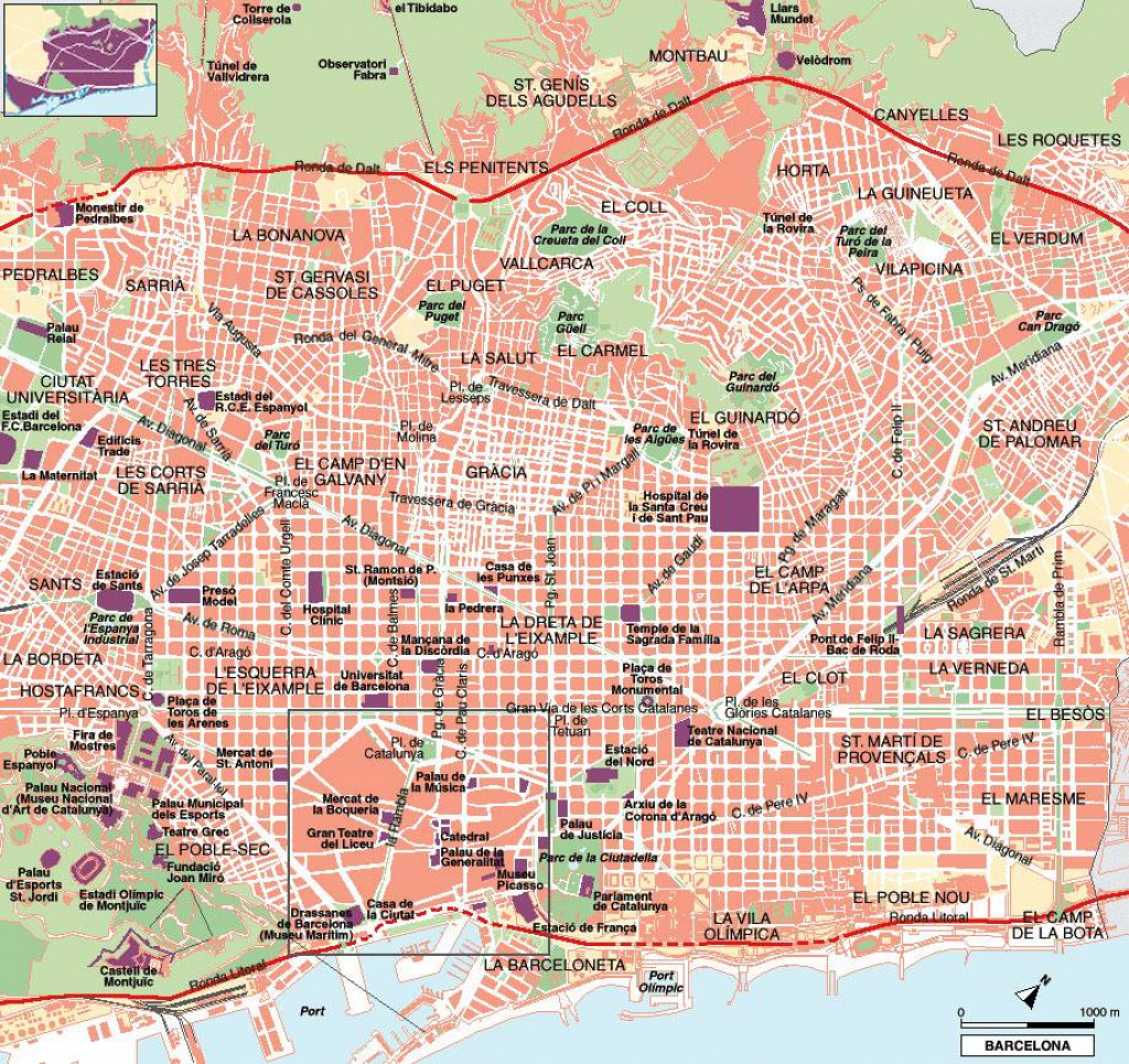 Large Barcelona Maps For Free Download And Print | High-Resolution inside Barcelona Street Map Printable