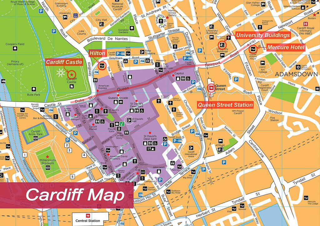 Large Cardiff Maps For Free Download And Print   High-Resolution And pertaining to Printable Map Of Cardiff