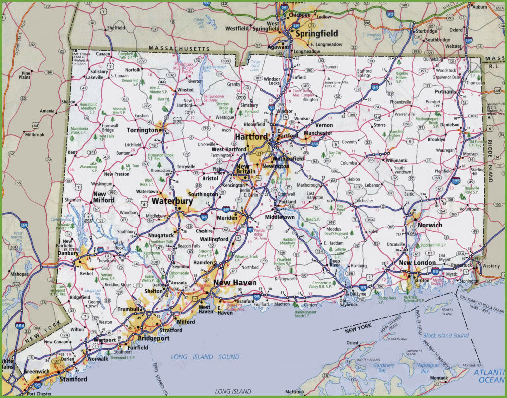 Large Detailed Map Of Connecticut With Cities And Towns with regard to Printable Map Of Connecticut