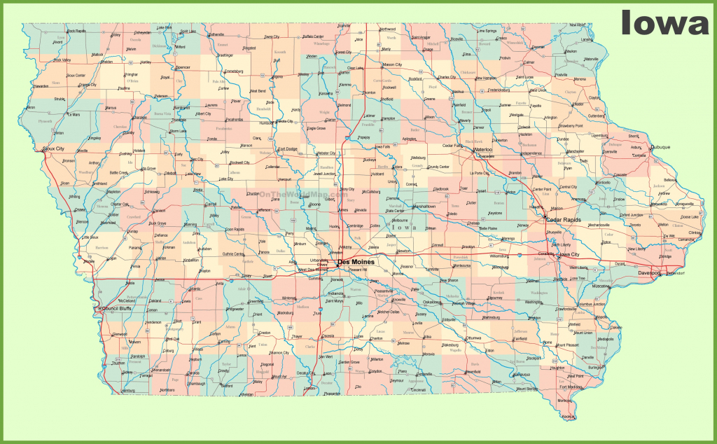 Large Detailed Map Of Iowa With Cities And Towns with Printable Map Of Iowa