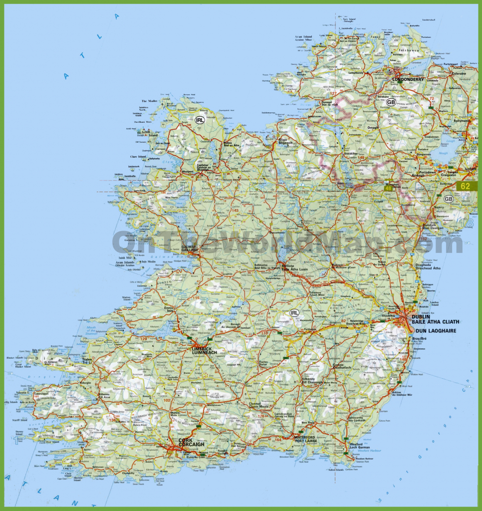 Large Detailed Map Of Ireland With Cities And Towns for Printable Map Of Ireland