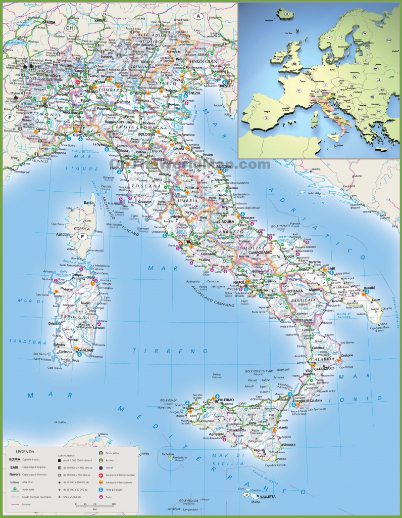 Large Detailed Map Of Italy for Large Map Of Italy Printable