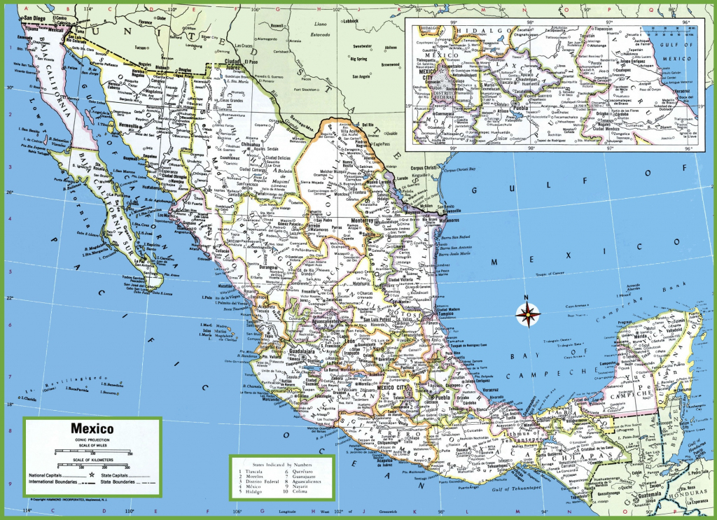Large Detailed Map Of Mexico With Cities And Towns for Printable Map Of Mexico