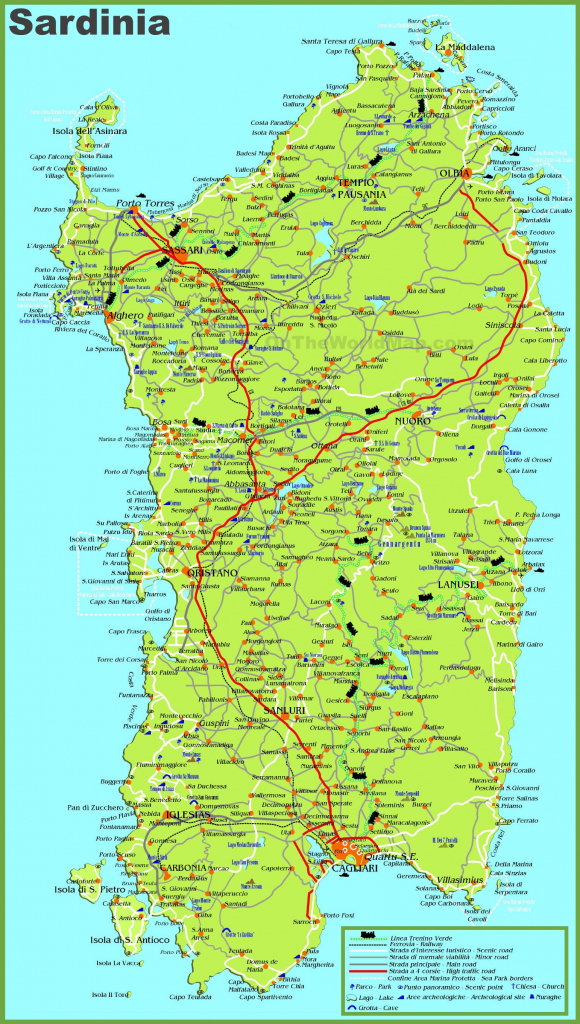 Large Detailed Map Of Sardinia With Cities, Towns And Roads within Printable Map Of Sardinia