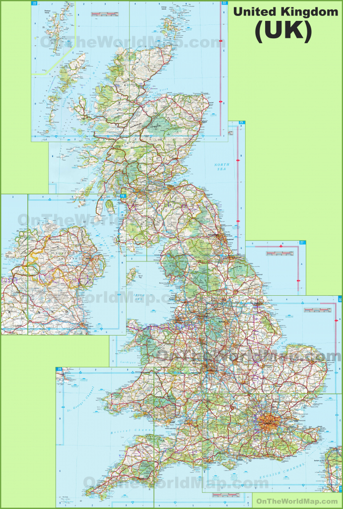 Large Detailed Map Of Uk With Cities And Towns intended for Printable Map Of England With Towns And Cities