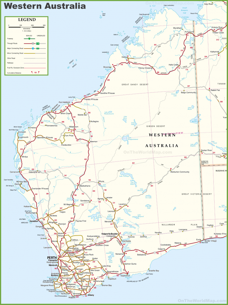 Large Detailed Map Of Western Australia With Cities And Towns in Printable Map Of Australia With States