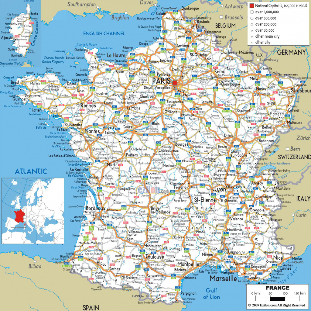 Large Detailed Road Map Of France With All Cities And Airports within Printable Map Of France