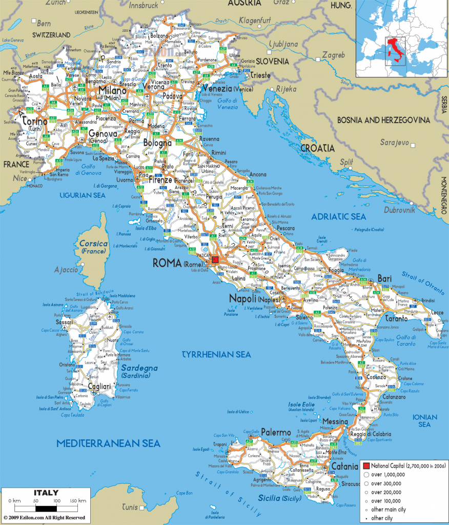 Large Detailed Road Map Of Italy With All Cities And Airports regarding Large Map Of Italy Printable