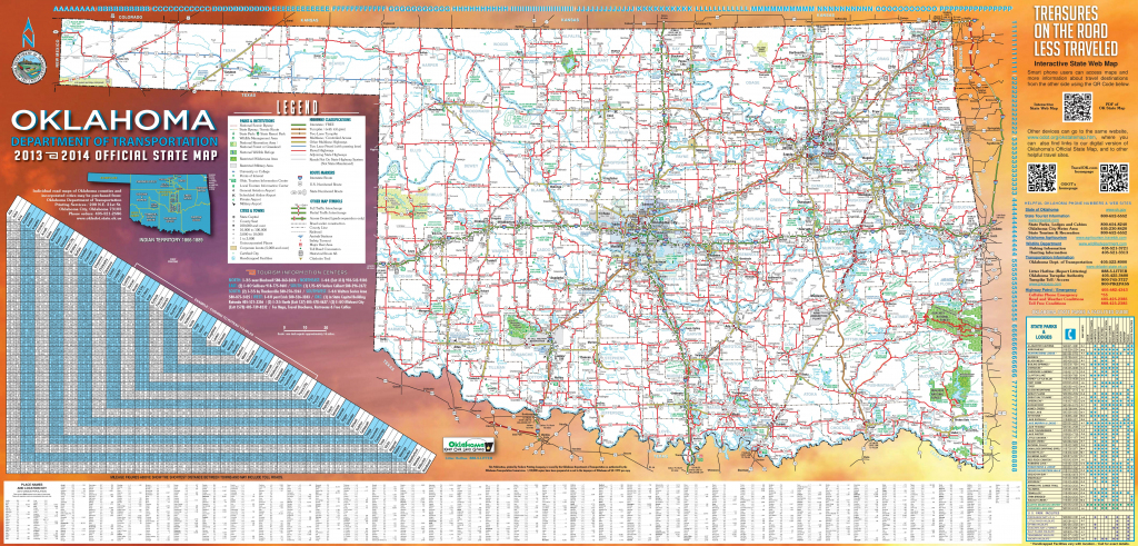 Large Detailed Road Map Of Oklahoma pertaining to Oklahoma State Map Printable
